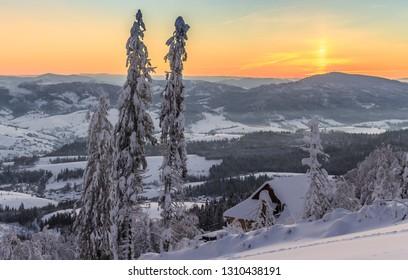 Ski complex `Play`. Carpathians. Ukraine. 19/01/2019.