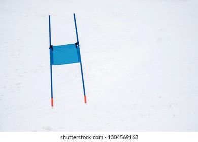 Ski gates with flag blue parallel slalom