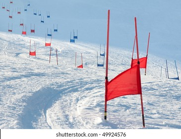 Ski gates with flag red and blue parallel slalom