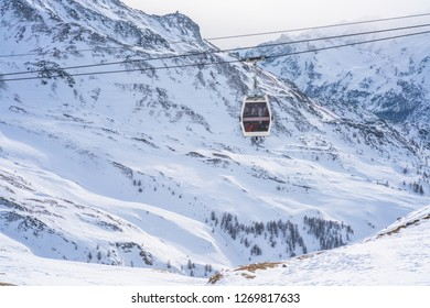 Ski gondola on Plan Maison in the Aosta Valley region of northwest Italy.