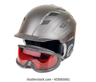 ski helmet and goggles on white background