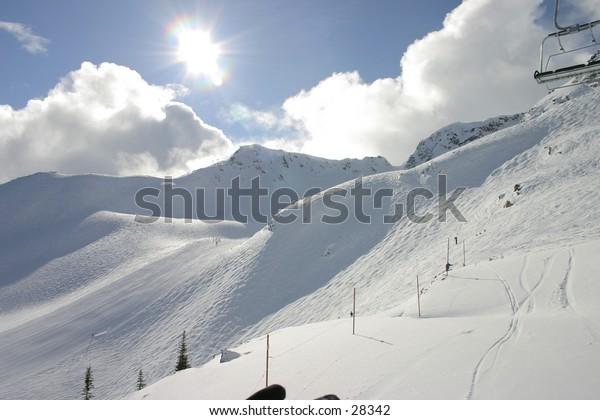 Ski hill at Whistler Blackomb Mountain, BC, CA
