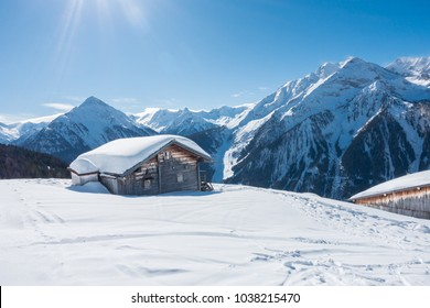 Ski hut in the Austrian mountains in winter