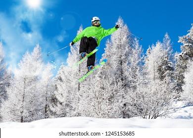 ski jump in fresh snow