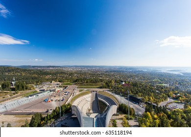 Ski jump at the top of Holmenkollen overlooking Oslo.