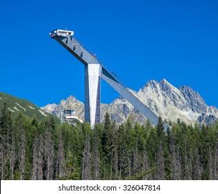 Ski jump tower in High Tatras mountains, Slovakia