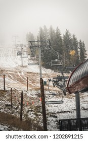 A ski lift in Beaver Creek, during a fall snow storm.
