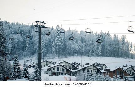 ski lift Bukovel ski resort, mountain theme and sports, ski track 2A