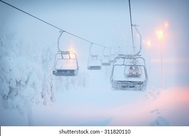 Ski lift in the fog. Ski resort in Ruka, Finland