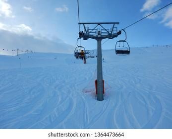 Ski lift in Livigno Italy. Skiing resort Livigno, near St. Moritz. Picture taken on 21th of January 2016.