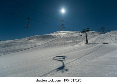 Ski lift in the moonlight, Vogel, Slovenia