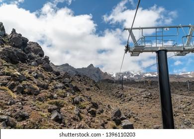 Ski Lift, Mount Ruapehu, Tongariro National Park, North Island of New Zealand