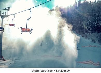 ski lift in the mountains skiing