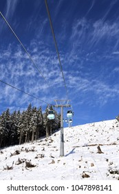 ski lift with nice cirrostratus cloudscape in Zell am See - Austria