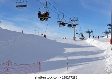 Ski lift on the alpine resort