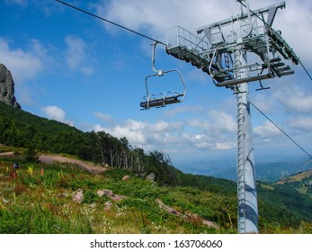 Ski lift on Old mountain, Serbia, during summer time