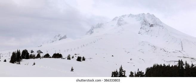 Ski Lift on the slope of Mount Hood Oregon during Winter Season Panorama