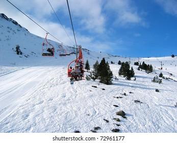 Ski lift of Porte Puymorens ski station, Pyrenees, Catalonia, France