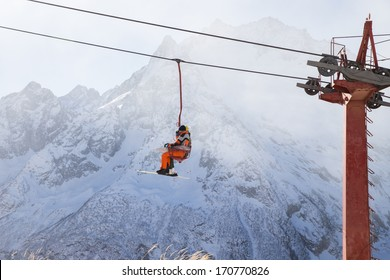 Ski lift in  Ski Resort high in the mountains