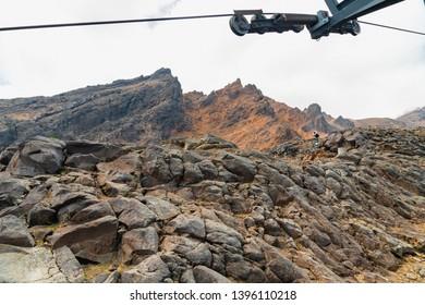 Ski Lift Ride Over Mt Ruapehu's Striking Volcanic Terrain, Mount Ruapehu,  Tongariro National Park, North Island of New Zealand