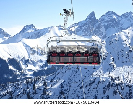 Ski Lift Sessellift Mountains Glacier Bergpanorama Stock Photo Edit