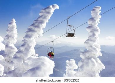Ski lift at Sheregesh winter resort. Siberia, Russia