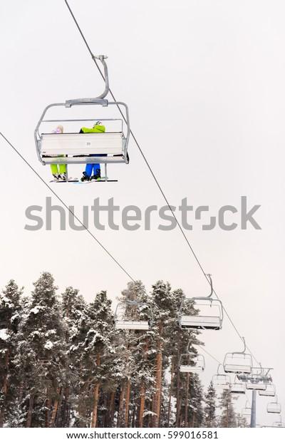 Ski Lift and Skier, Ski Resort Winter Season