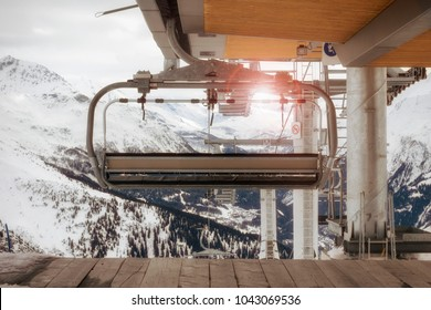 ski lift and snow in sunlight in winter season, on french alps