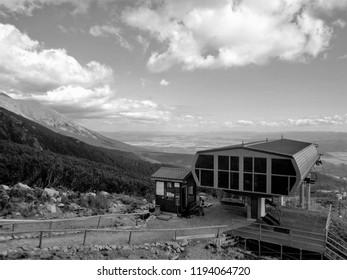 Ski lift station at Strbske Pleso in High Tatras, Slovakia. Station at cottage Solisko 1840 m asl. Black and white