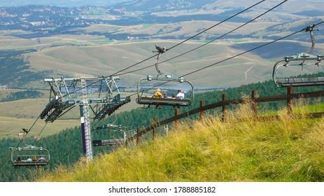 Ski lift in summer on the mountain Zlatibor in Serbia.