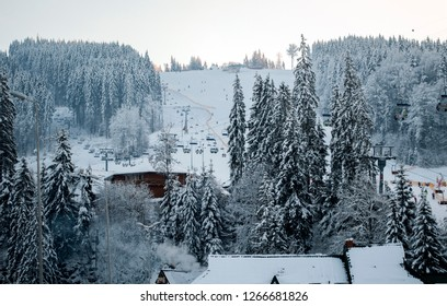 the ski lifts Bukovel, Carpathians, the theme of mountain sports, skiing, ski track 2A