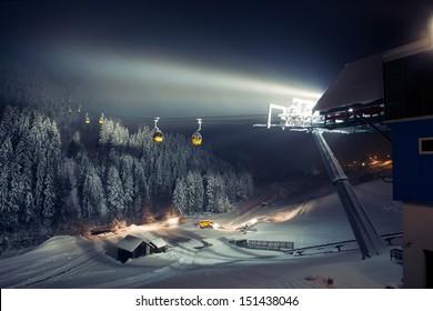 Ski lifts (gondolas) at night