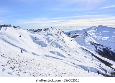 Ski lifts and ski runs of Monte Gomito in Tuscany (Italy)
