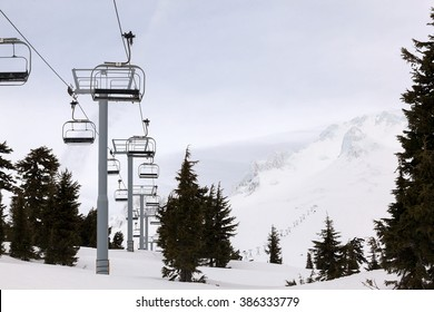 Ski Lifts up to the slope of Mount Hood Oregon during Winter Season