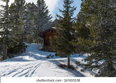 A ski lodge in winter Austrian Alps, Mayrhofen ski resort