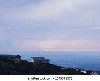 Ski lodges against twilight sky Mount Ruapehu, New Zealand