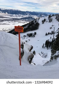 Ski mountain chute closed out of bounds