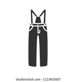 Ski pants glyph icon. Winter overall. Bib-and-brace. Silhouette symbol. Negative space. Raster isolated illustration