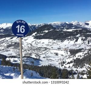 Ski piste marker in the French Alps
