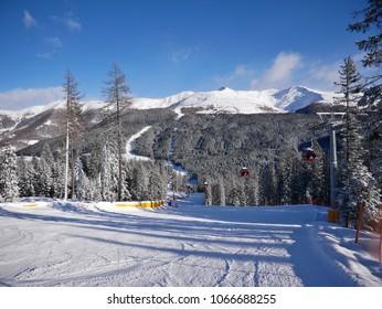 The ski piste Signaue in the Drei Zinnen ski resort