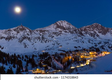Ski resort in Austrian Alps by night