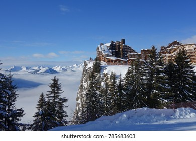 The ski resort of Avoriaz perched high on the cliffs in the French Alps.