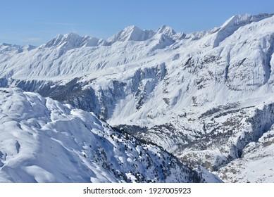 The ski resort of Belalp in the Jungfrau Region above the Aletsch Glacier, in the Bernese Alps, Switzerland