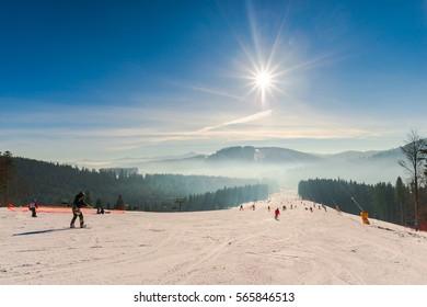 Ski resort in carpathian mountains
