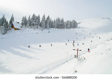 Ski resort in the Carpathians, Ukraine. Snow-covered forest and ski slope. Trees covered with snow in a sunny cold day