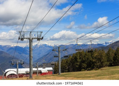 Ski resort chair lifts stopped in summer