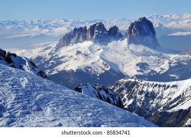Ski resort Dolomities, Dolomiti - Italy in wintertime