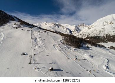 Ski resort in Europe. Famous destination in Valtellina, Livigno.