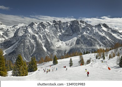 Ski Resort Folgarida - Marilleva in the Val di Sole and Brenta Dolomites, UNESCO World Heritage Site - View from Monte Vigo, Pinzolo, Trento Autonomous Province, Trentino Region, Upper Adige, Italy