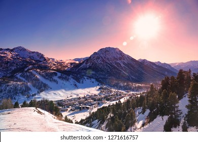 Montgenèvre ski resort in the Hautes Alpes at sunset